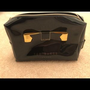 Ted Baker Black/Gold Large Bow Cosmetic Bag
